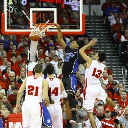 Jahil Okafor throws down a dunk in the 1st half