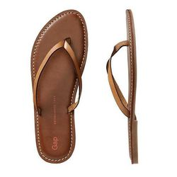 """Contrast Leather Flip-Flops in Camel, $24.95 at <a href=""""http://www.gap.com/browse/product.do?cid=85615&vid=1&pid=452993012"""">Gap</a>"""