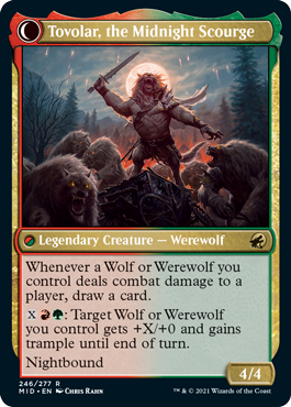 Tovolar, the Midnight Scourge on its nightbound side. The werewolf is in the same post as the human on the other side of the card.