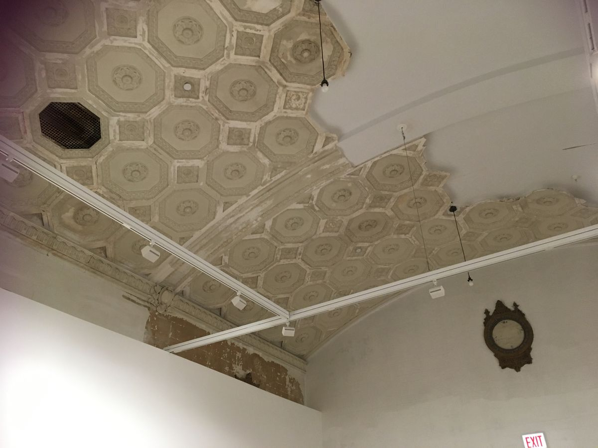 A $6.5 million renovation of the historic South Side Arts Bank by the Rebuild Foundation salvaged as much of its elaborate interior architecture as possible, like this intricate ceiling work. The nearly 100-year-old architectural gem re-opened this summer