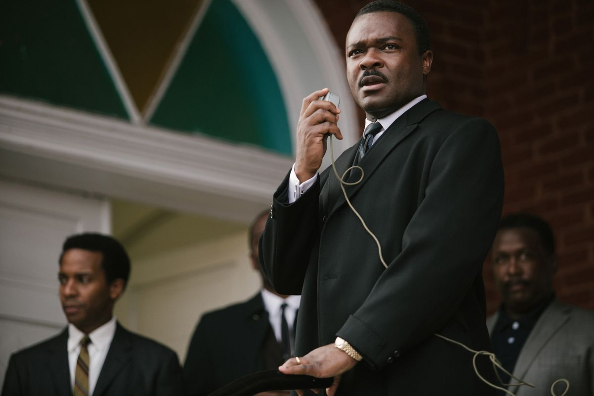 """David Oyelowo portrays the Rev. Martin Luther King Jr. in a scene from """"Selma,"""" a film based on the slain civil rights leader.   Atsushi Nishijima/Paramount Pictures via AP"""
