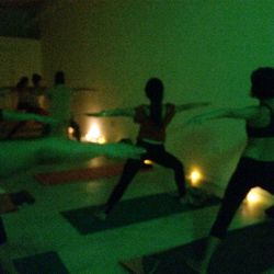 The candlelit class was super dark, but here's a (blurry) peek.