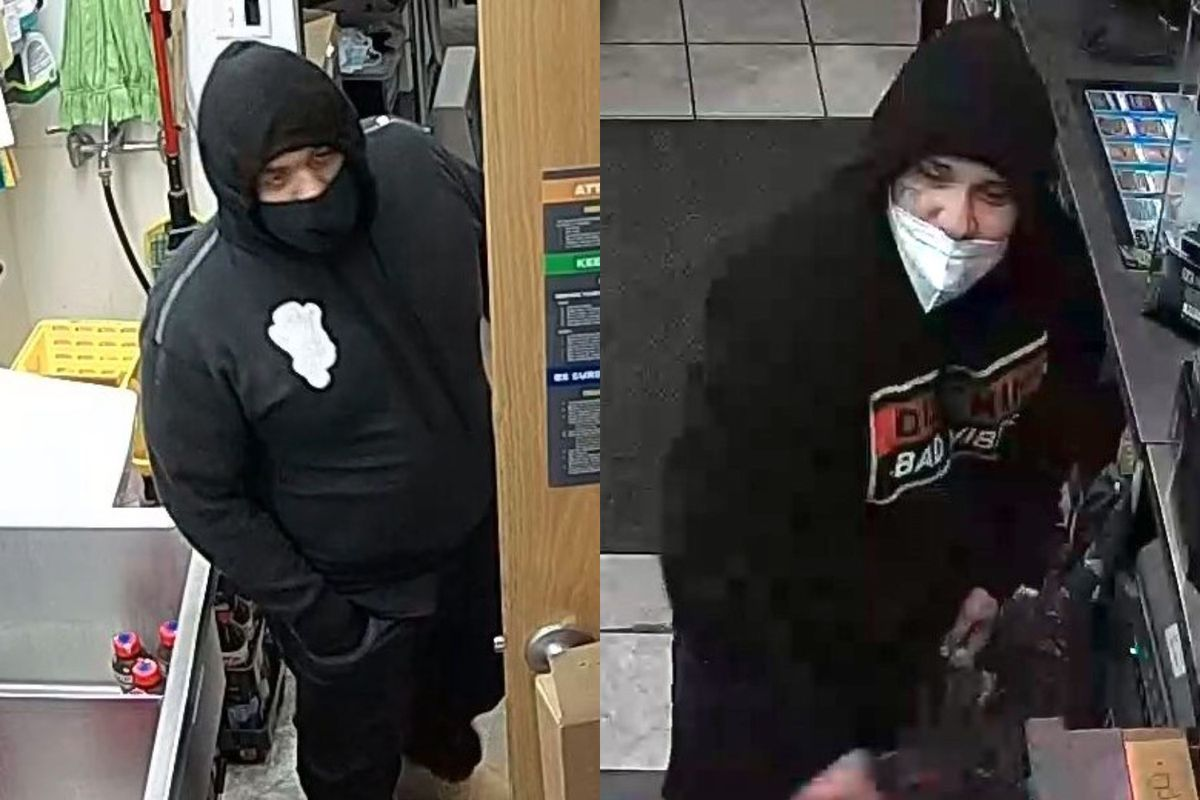 Police say these two men robbed a gas station and shot its clerk Wednesday in Marengo.