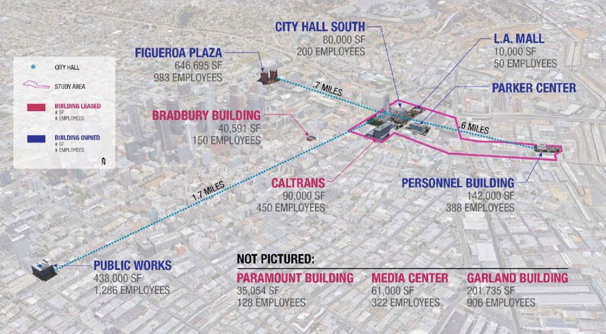 Map of city office buildings around Downtown LA