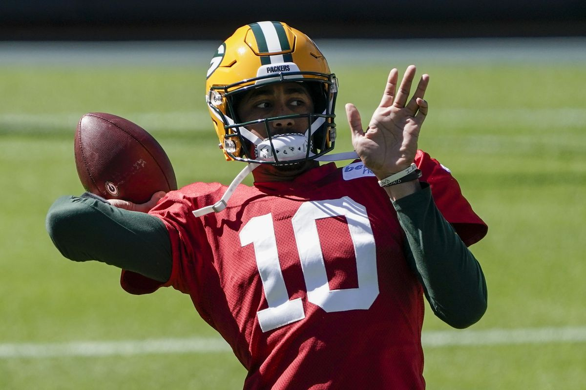 Green Bay Packers' Jordan Love throws during a 2020 practice. Love took first-team reps during offseason workouts this week.
