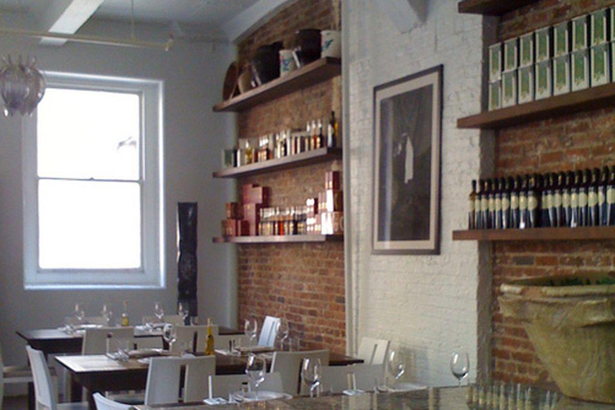 Bricks and shelves at 54 Mint.