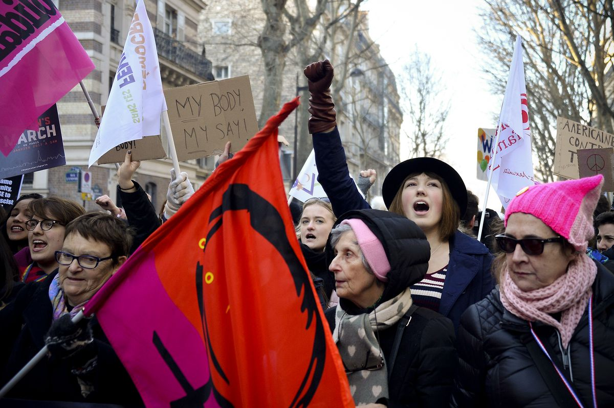 Protestors hold anti-Trump signs as over 2000 people protest during the Women's march in front of Trocadero on January 21, 2017 in Paris, France.