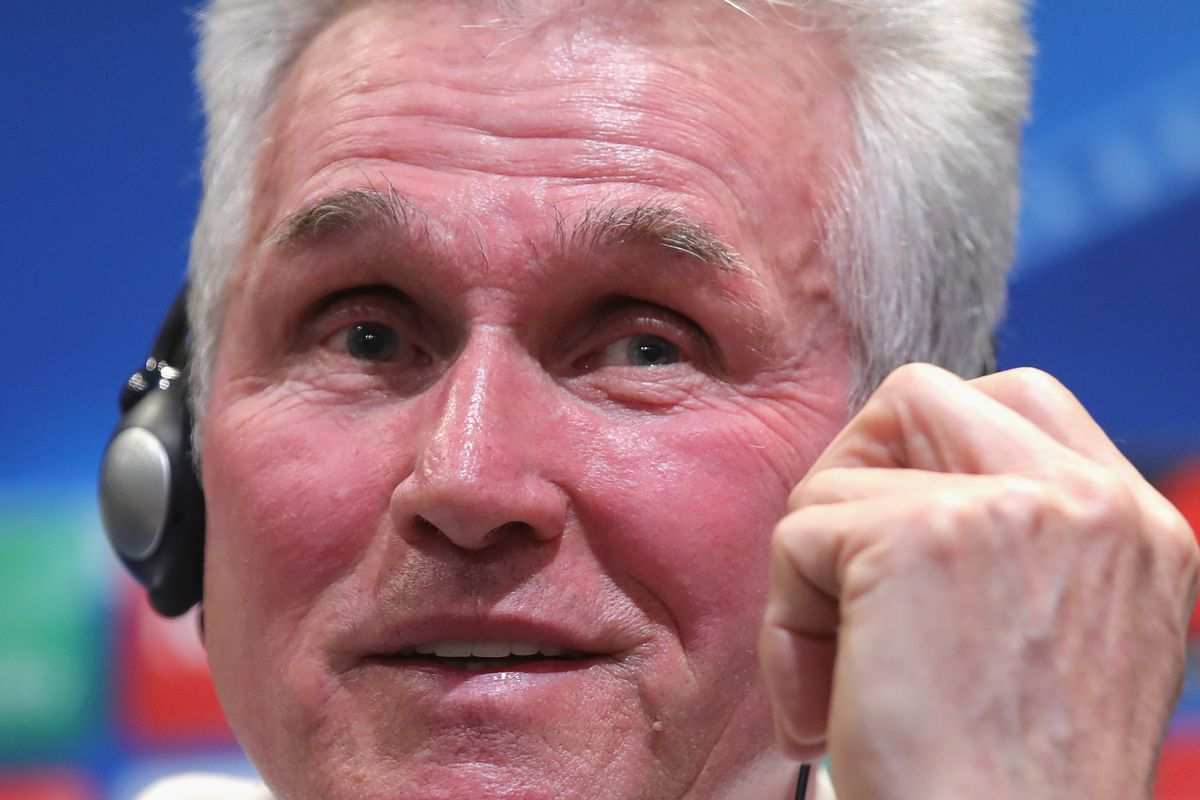 Jupp Heynckes, Manager of Bayern Munchen speaks during a Bayern Muenchen press conference ahead of their UEFA Champions League round of 16 match against Besiktas at Vodafone Park on March 13, 2018 in Istanbul, Turkey.