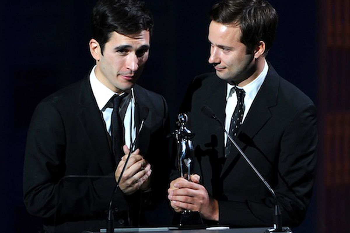 Lazaro Hernandez and Jack McCollough of Proenza Schouler accept their CFDA Award for Womenswear Designer of the Year (Photo credit: Getty Images)