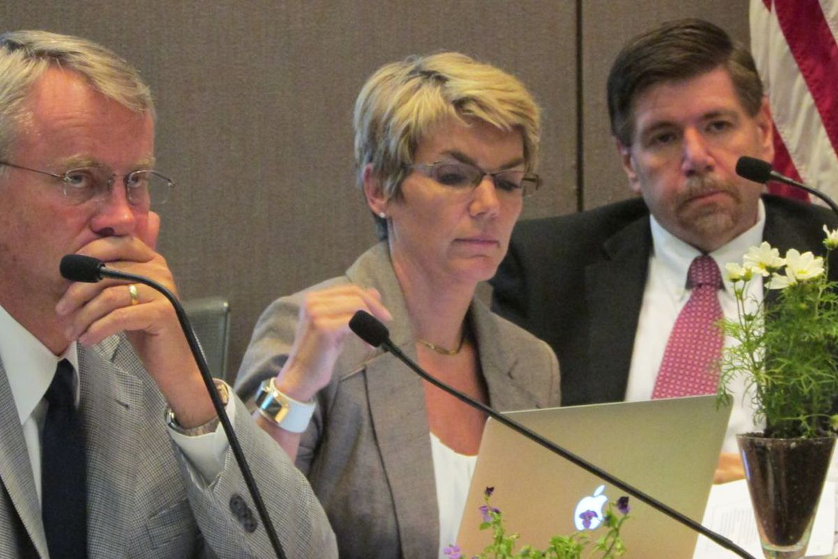 State Board member Cari Whicker, flanked by Dan Elsener and Brad Oliver, was recommended for reappointment by the Indiana State Teachers Association.