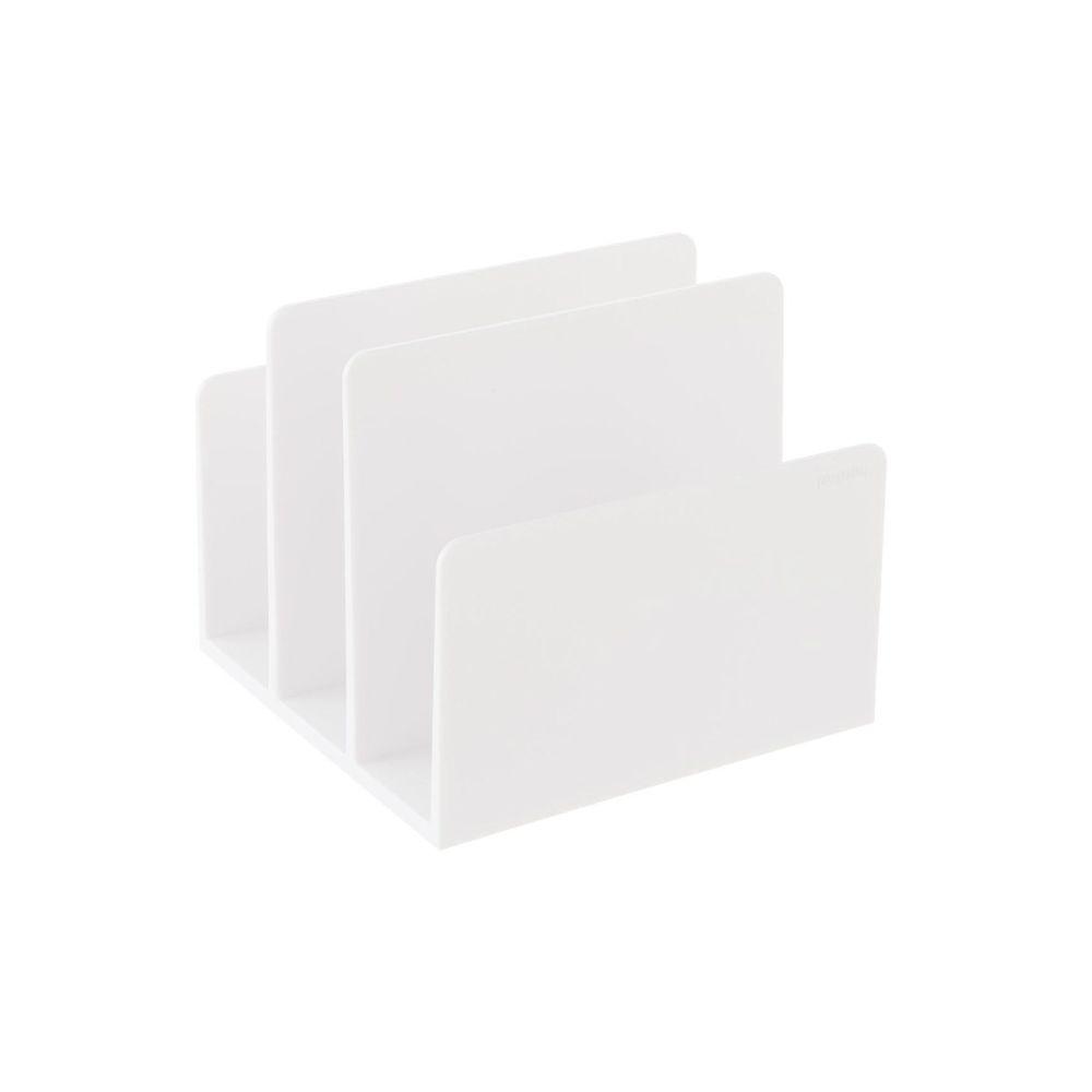 White filing organizer with three slots.