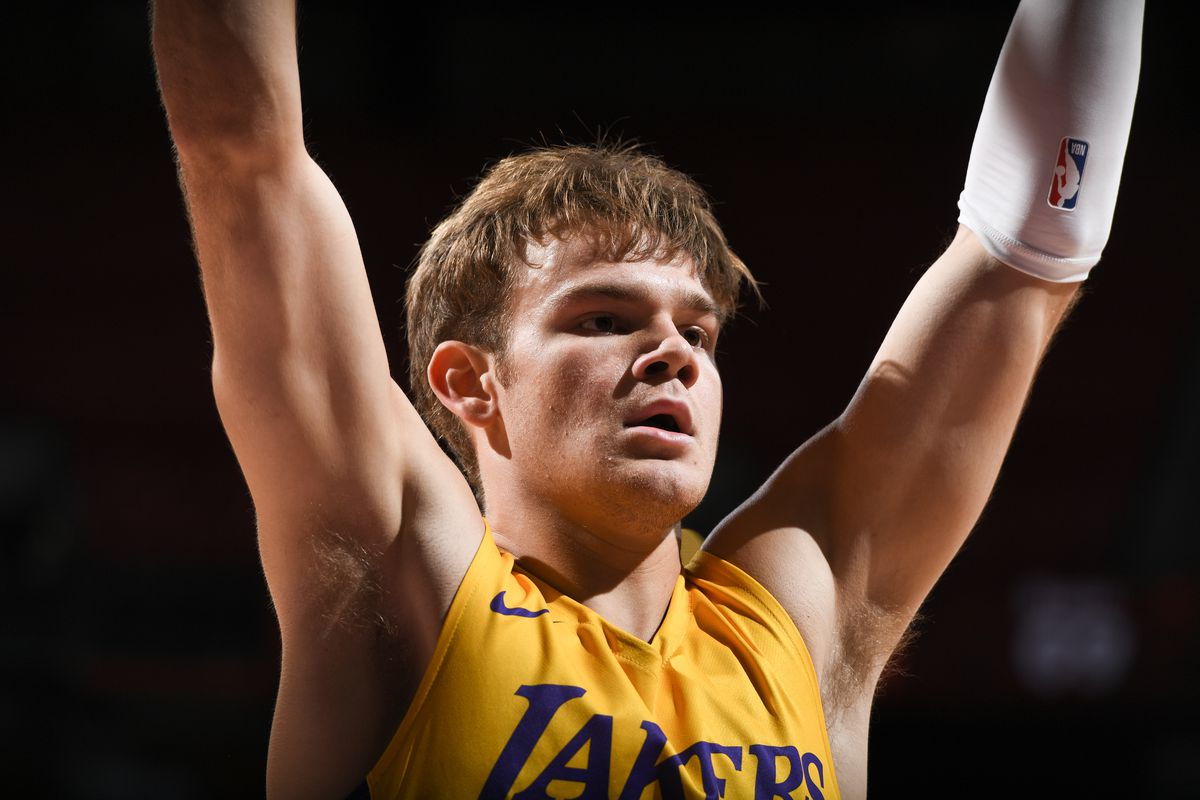 A detailed shot of Mac McClung of the Los Angeles Lakers plays defense against the Phoenix Suns during the 2021 Las Vegas Summer League on August 8, 2021 at the Thomas & Mack Center in Las Vegas, Nevada.