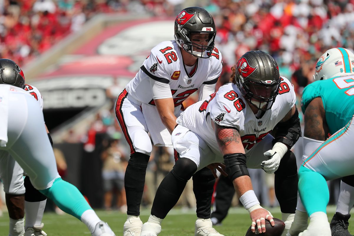 Tampa Bay Buccaneers Quarterback Tom Brady (12) looks over the defense during the regular season game between the Miami Dolphins and the Tampa Bay Buccaneers on October 10, 2021 at Raymond James Stadium in Tampa, Florida.