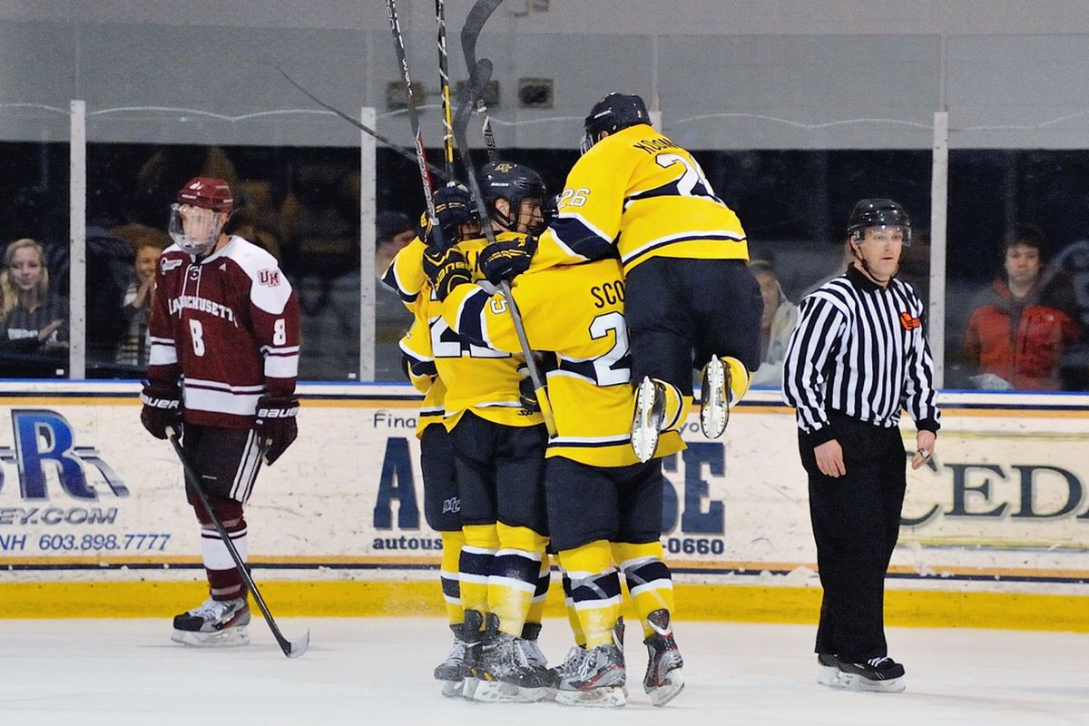 Connor Toomey scored his second overtime winner of the season as the Merrimack Warriors defeated UMass on Friday in North Andover.