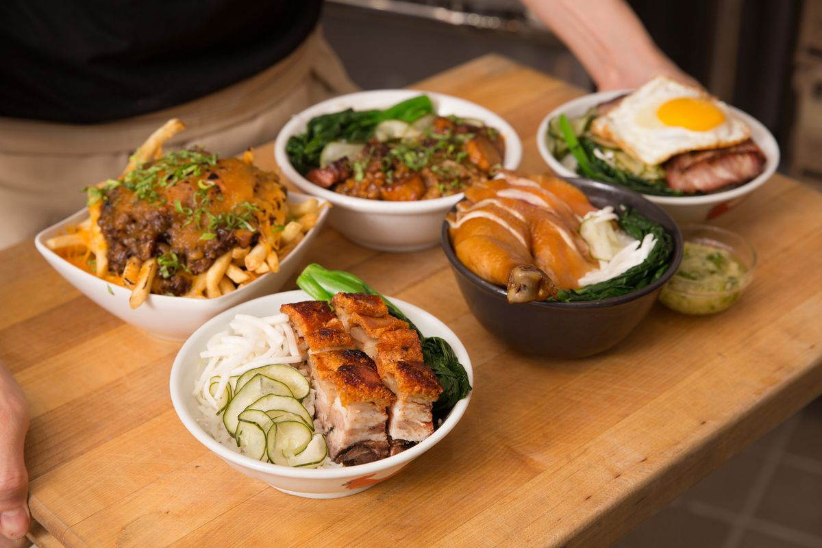 Dishes from Rice Box in Downtown LA.