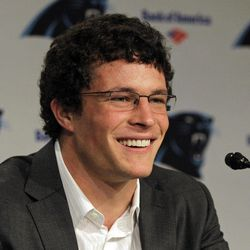 Luke Kuechly, the Carolina Panthers first-round NFL football draft pick, smiles as he speaks to the media during a news conference in Charlotte, N.C., Friday, April 27, 2012.