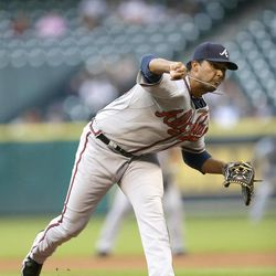 Atlanta Braves starting pitcher Randall Delgado deliversbagainst the Houston Astros during the first inning of a baseball gameb on Wednesday, April 11, 2012, in Houston.