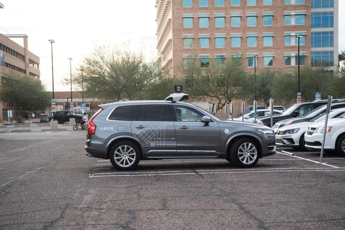 An autonomous Uber parked in Tempe, Arizona.