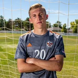Skyridge midfielder Austin Wallace, this year's Deseret News Mr. Soccer, poses for a photo at Skyridge High School in Lehi on June 14, 2021.
