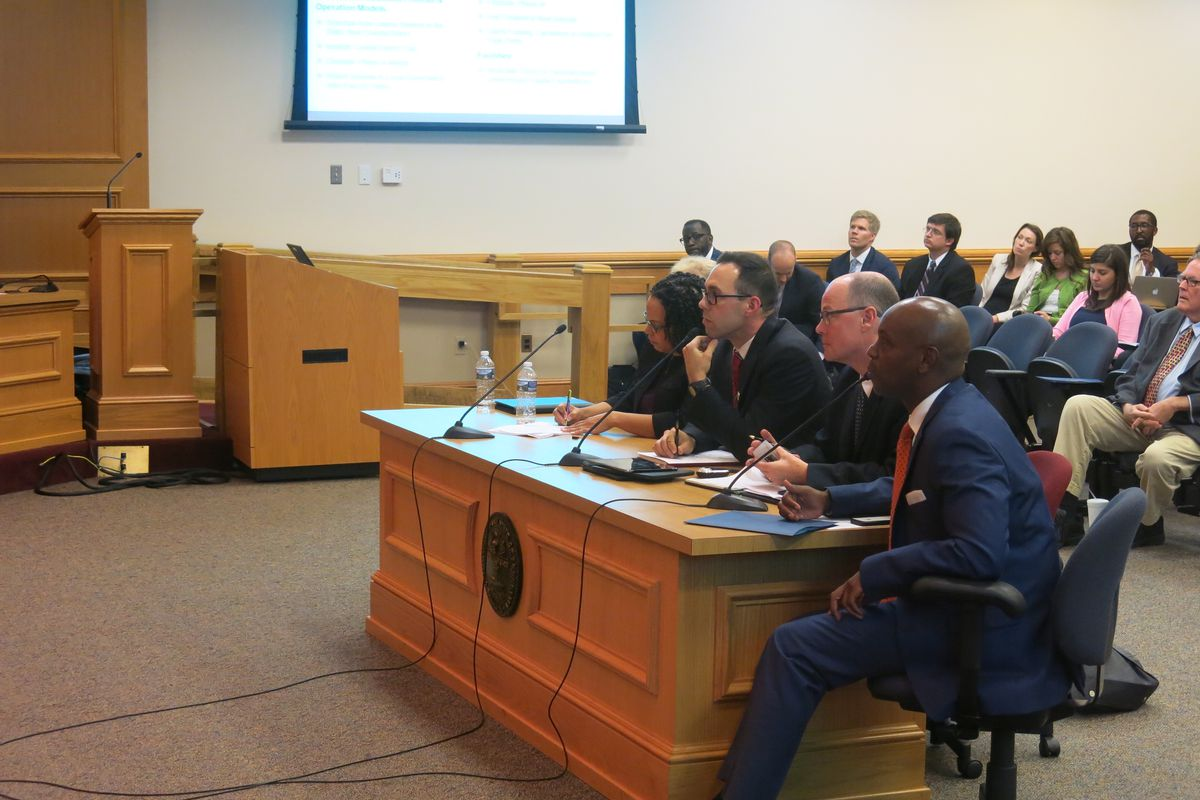 Achievement School District superintendent Malika Anderson, Shelby County Schools chief of innovation officer Brad Leon, Nashville attorney Mark North, and Shelby County Schools superintendent Dorsey Hopson answer questions about school turnaround at the House education committees' summer study.