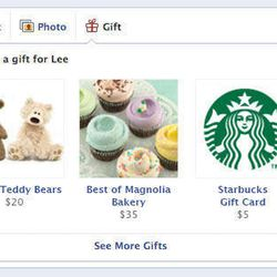 This undated image provided by Facebook shows a new service called Gifts which, as its name suggests, lets users send chocolate, coffee, socks and other real-life presents to one another.  Facebook Gifts will be available Thursday, Sept. 27, 2012, to a subset of users in the U.S. and will roll out to more over the coming months as people begin to send gifts to each other.