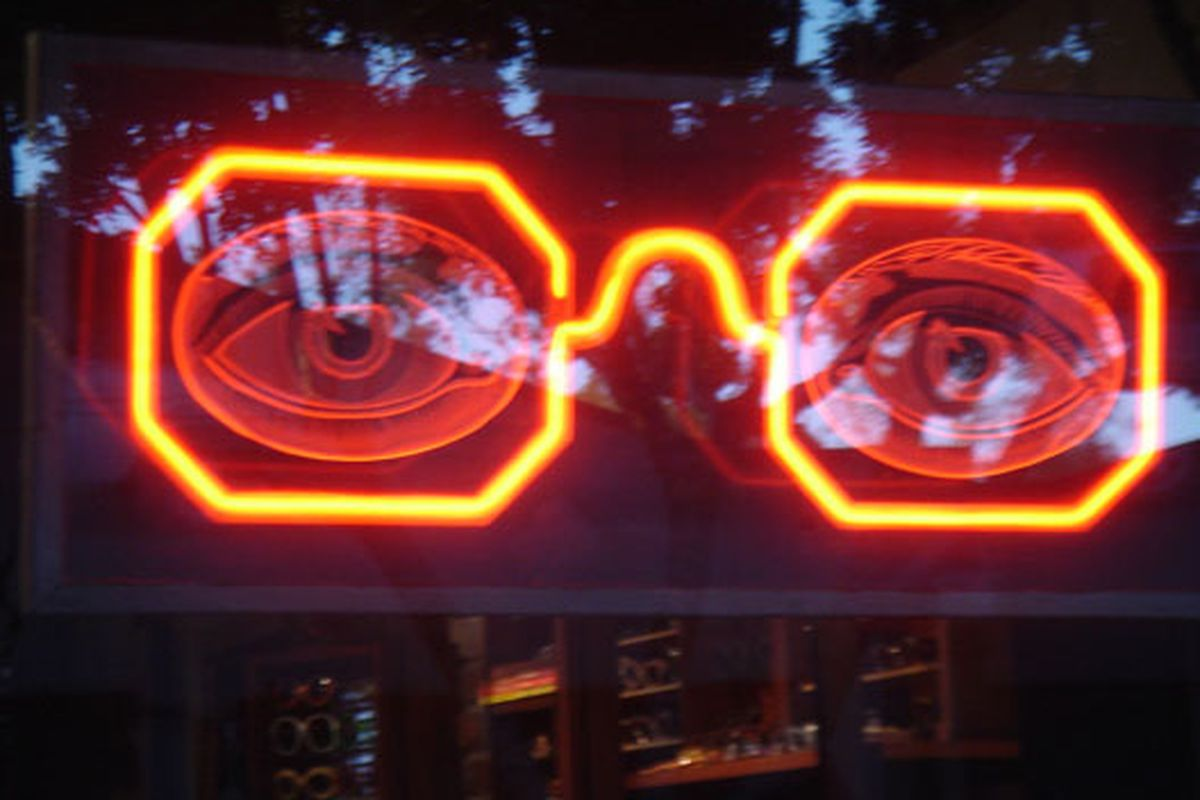 """Giant neon sunglasses via <a href=""""http://www.flickr.com/photos/benjaminpage/3390129827/in/pool-708420@N23"""">Benjamin Page</a>/Flickr"""