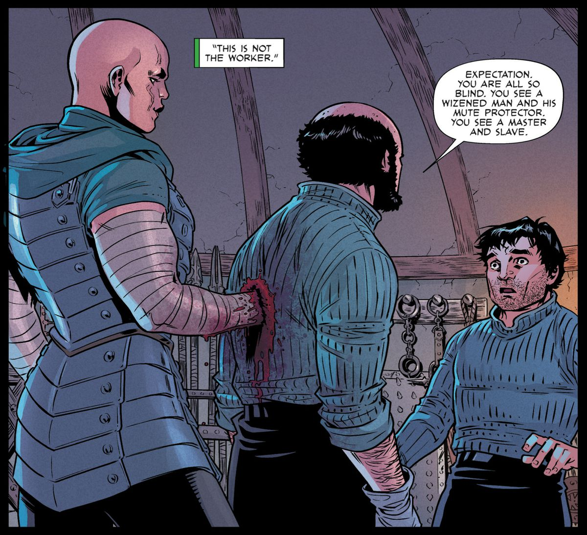 The protagonist of Reaver realizes that the old sorcerer and his mute bodyguard were actually a mute sorcerer and the old man's dead body she'd ensorcelled to pose as her master, in Reaver #5, Image Comics (2019).