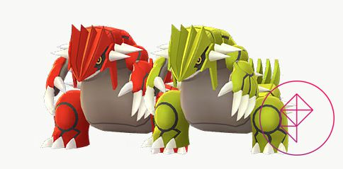 Groudon with its Shiny form. Shiny Groudon is yellow instead of red.