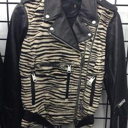 Leather jacket with pony hair body, $400