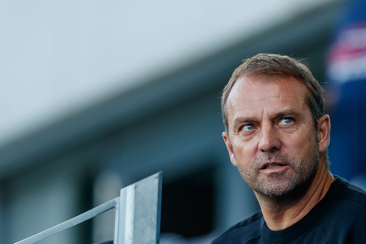 FUERTH, GERMANY - SEPTEMBER 07: Hansi Flick looks on during the U21 International friendly match between Germany and Mexico at Sportpark Ronhof on September 7, 2018 in Fuerth, Germany.