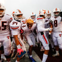 Timpview players celebrate after winning a 5A football state semifinal game 38-0 over Salem Hills at Cedar Valley High School in Eagle Mountain on Friday, Nov. 13, 2020.