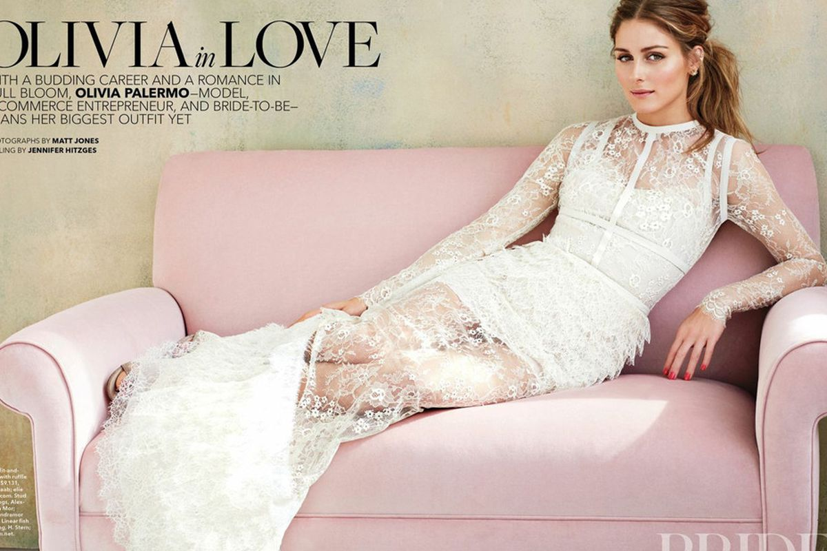 """Image <a href=""""http://www.eonline.com/news/533459/olivia-palermo-poses-for-brides-magazine-talks-wedding-style-and-sweet-romance-see-the-dreamy-pics"""">via</a>."""