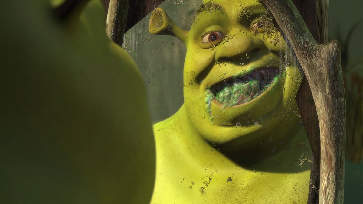 Shrek smiling in a cracked mirror