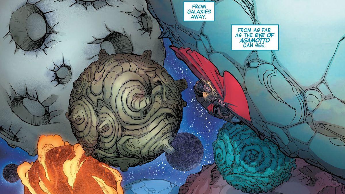 Half a dozen moons swarm around Thor, converging to crush him beneath their titanic weight in Avengers #33, Marvel Comics (2020).