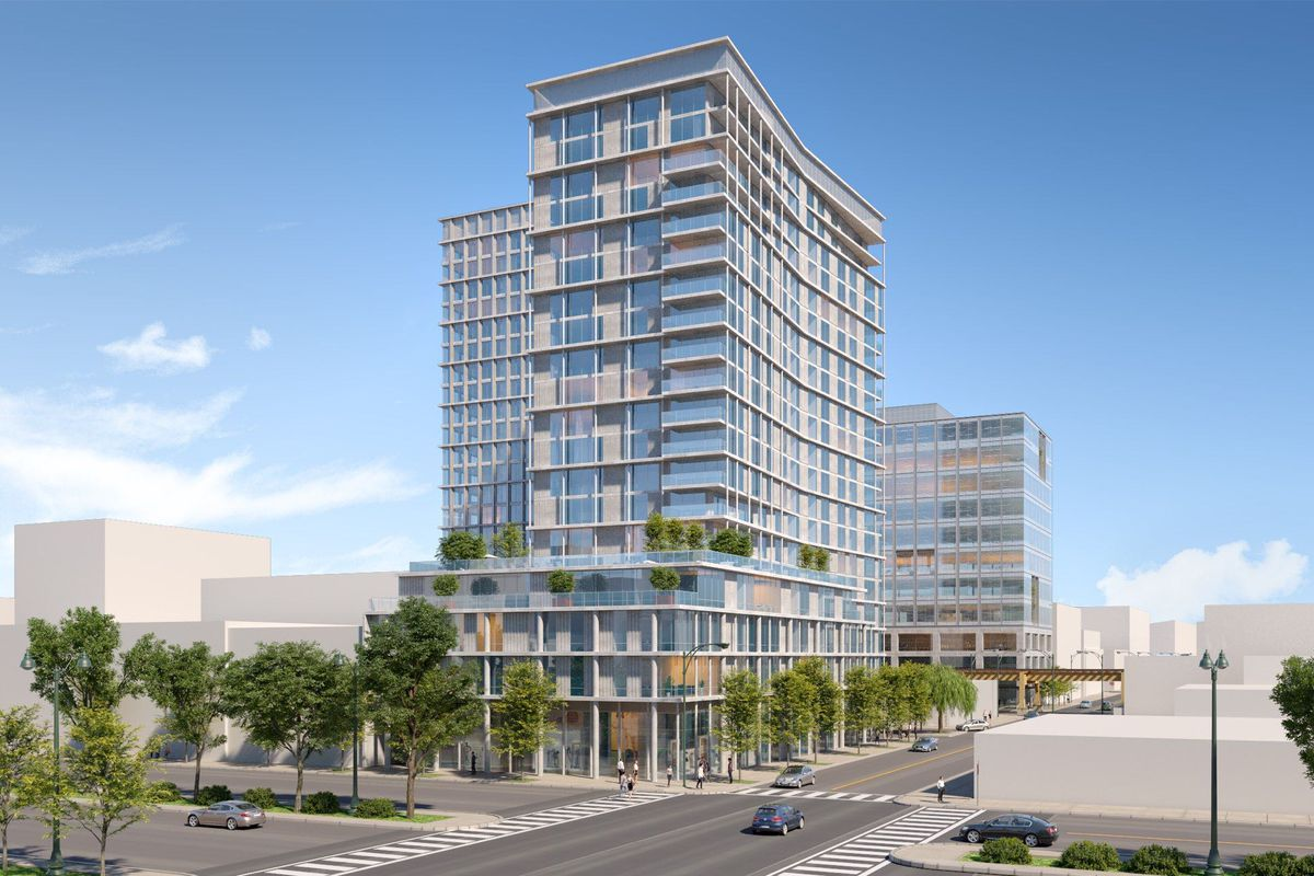 A rendering of a 20-story glass and metal apartment high-rise with many balconies. The buildings has a deck on the fifth floor topped by trees. Beyond, a second apartment tower pokes out as does an office building.