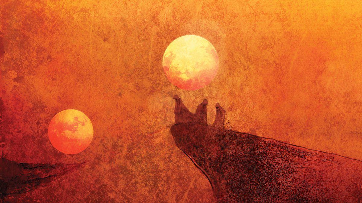 A stylized version of a sunset on Arrakis.