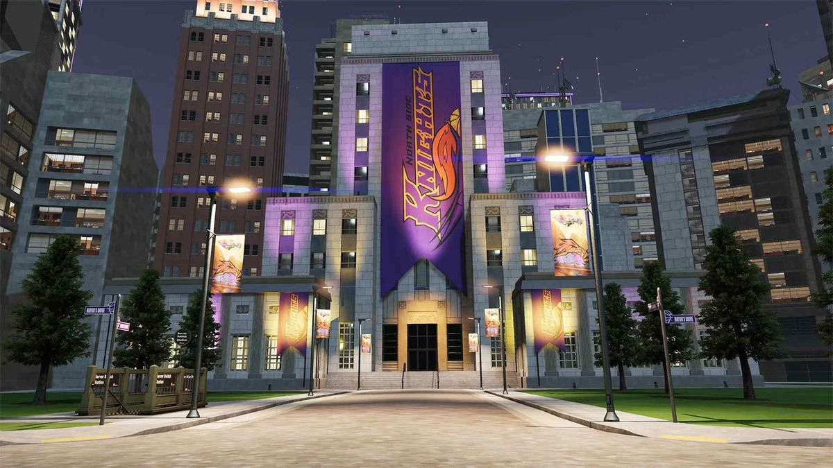 nighttime scene of a fictitious municipal building in the basketbopolis of NBA 2K21's The City