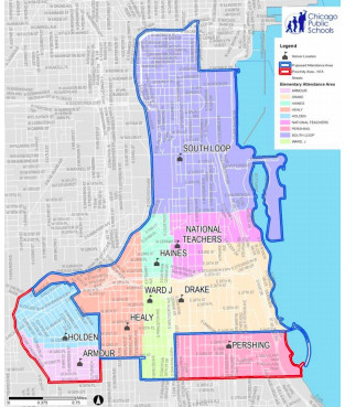 """The """"general attendance"""" boundary for the proposed South Loop high school is outlined in blue. The neighborhoods outlined in red would receive """"preference,"""" but they would not be guaranteed seats."""