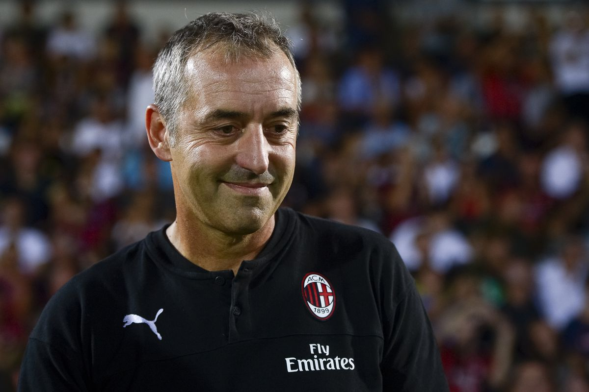 Marco Giampaolo, head coach of AC Milan, smiles prior to the...
