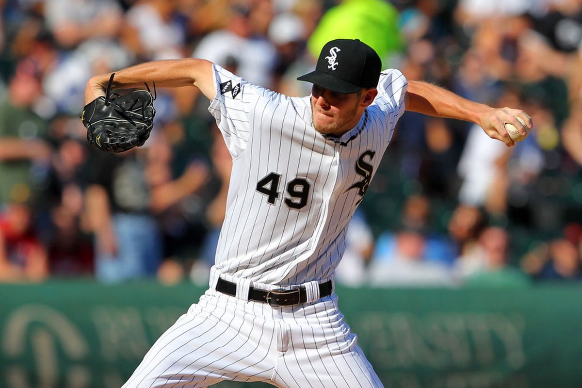 Jun 9, 2012; Chicago, IL, USA; Chicago White Sox starting pitcher Chris Sale (49) delivers a pitch during the seventh inning against the Houston Astros at US Cellular Field. The White Sox won 10-1. Mandatory Credit: Dennis Wierzbicki-US PRESSWIRE