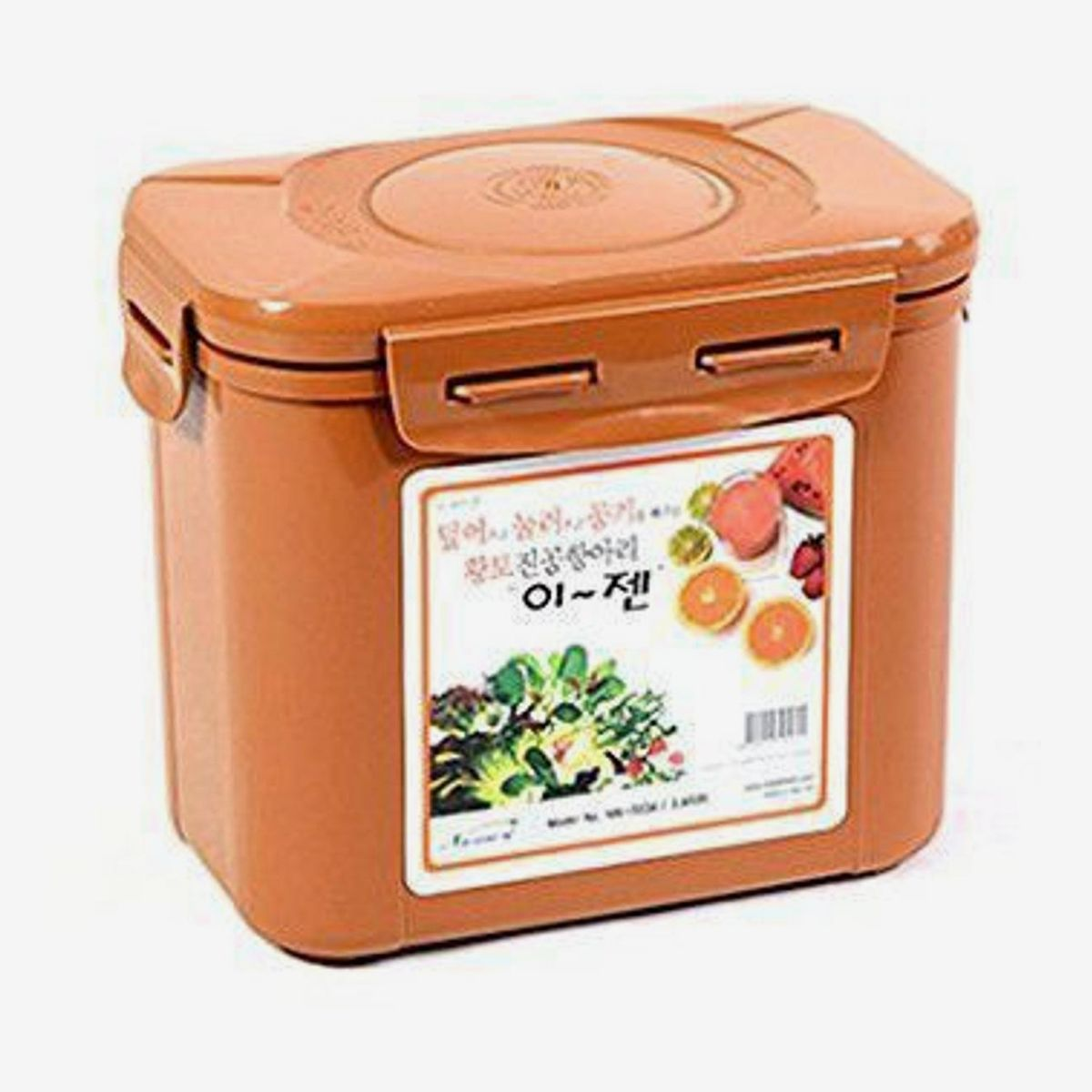 A brown kimchi container
