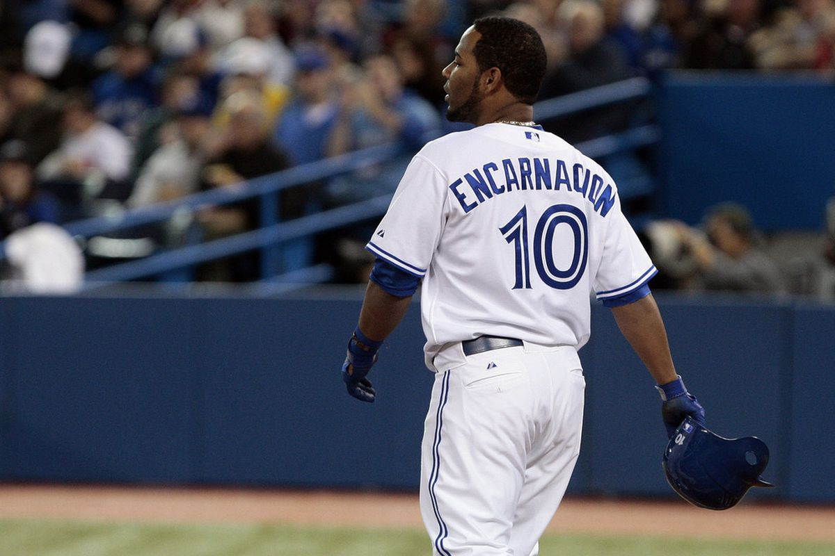 Edwin Encarnacion #10.Toronto, Ontario, Canada.  (Photo by Abelimages/Getty Images)