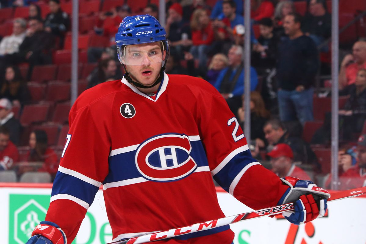 Oct 21, 2014; Montreal, Quebec, CAN; Montreal Canadiens center Alex Galchenyuk (27) before the game against Detroit Red Wings at Bell Centre. Mandatory Credit: Jean-Yves Ahern-USA TODAY Sports
