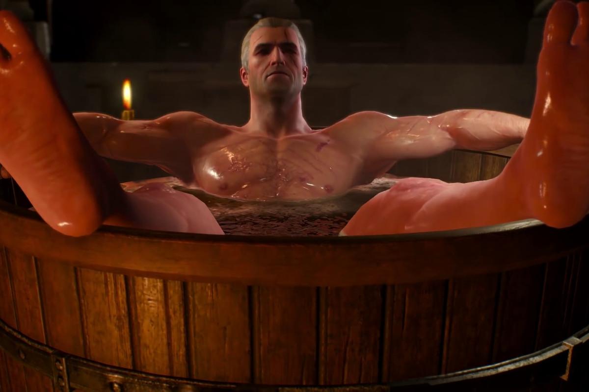 The Witcher 3: Wild Hunt - Geralt in a bathtub