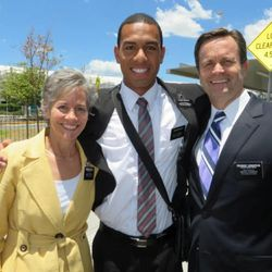 Will Hopoate with his mission president, Lon Henderson, right, and Sister Carrie Henderson in the Australia Brisbane mission.