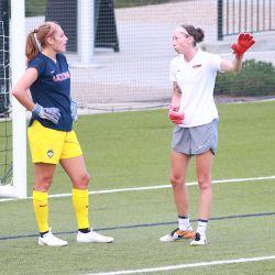 Randi Palacios and UConn women's soccer assistant coach Vanessa Phillips Bosshart