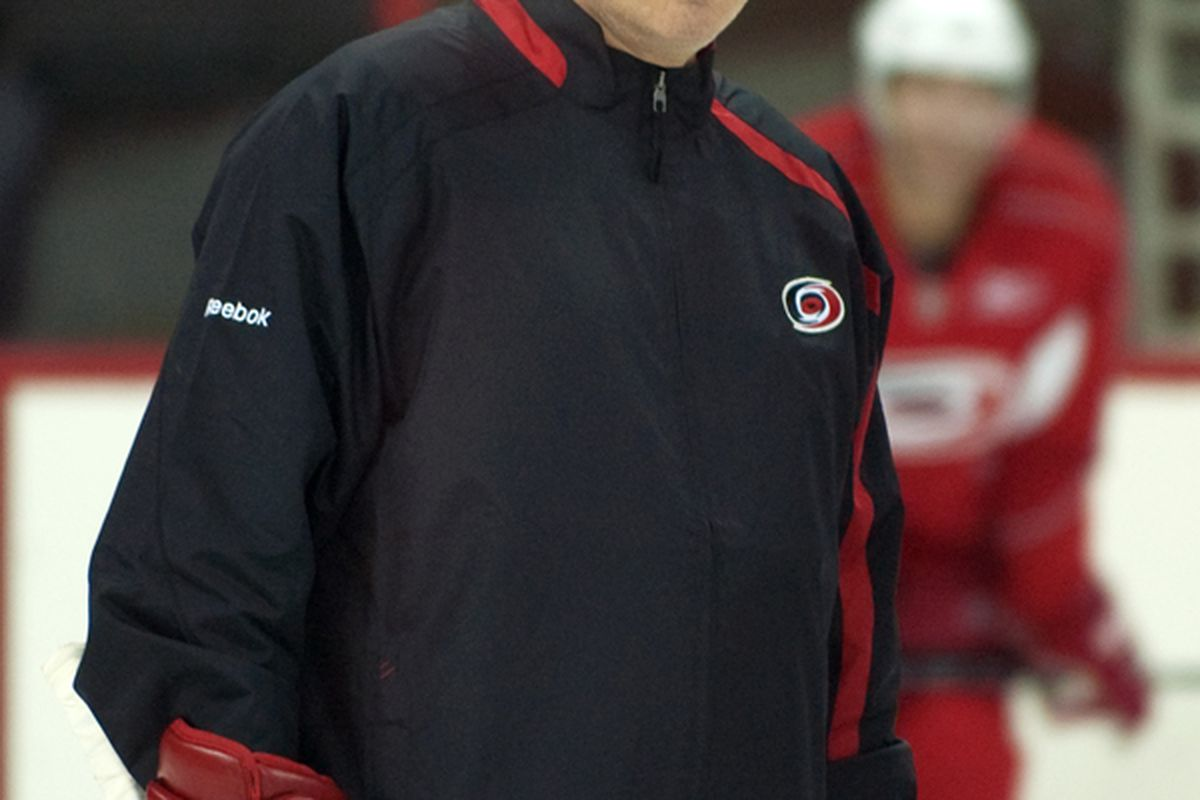"""Vice president of hockey operations Ron Francis is one of five new minority owners announced Wednesday by Hurricanes CEO Peter Karmanos Jr. (Photo by <a href=""""http://www.flickr.com/photos/jbk-ltd/collections/72157619609115405/"""">Jamie Kellner</a>)"""