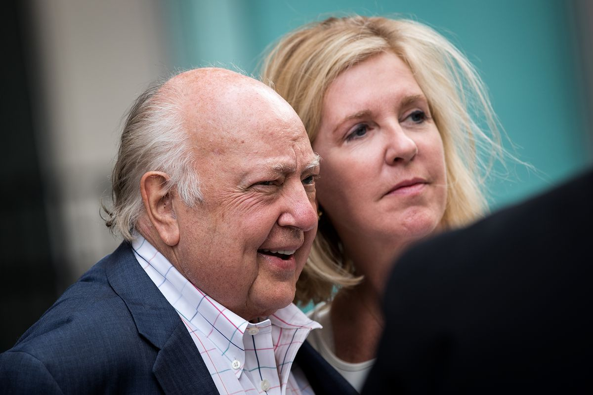 Roger Ailes leaves the News Corp building with his wife, Elizabeth Tilson, in July, during discussions about his departure from the network.