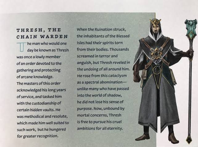 An image of human Thresh from the Blessed Isles from a League of Legends art book