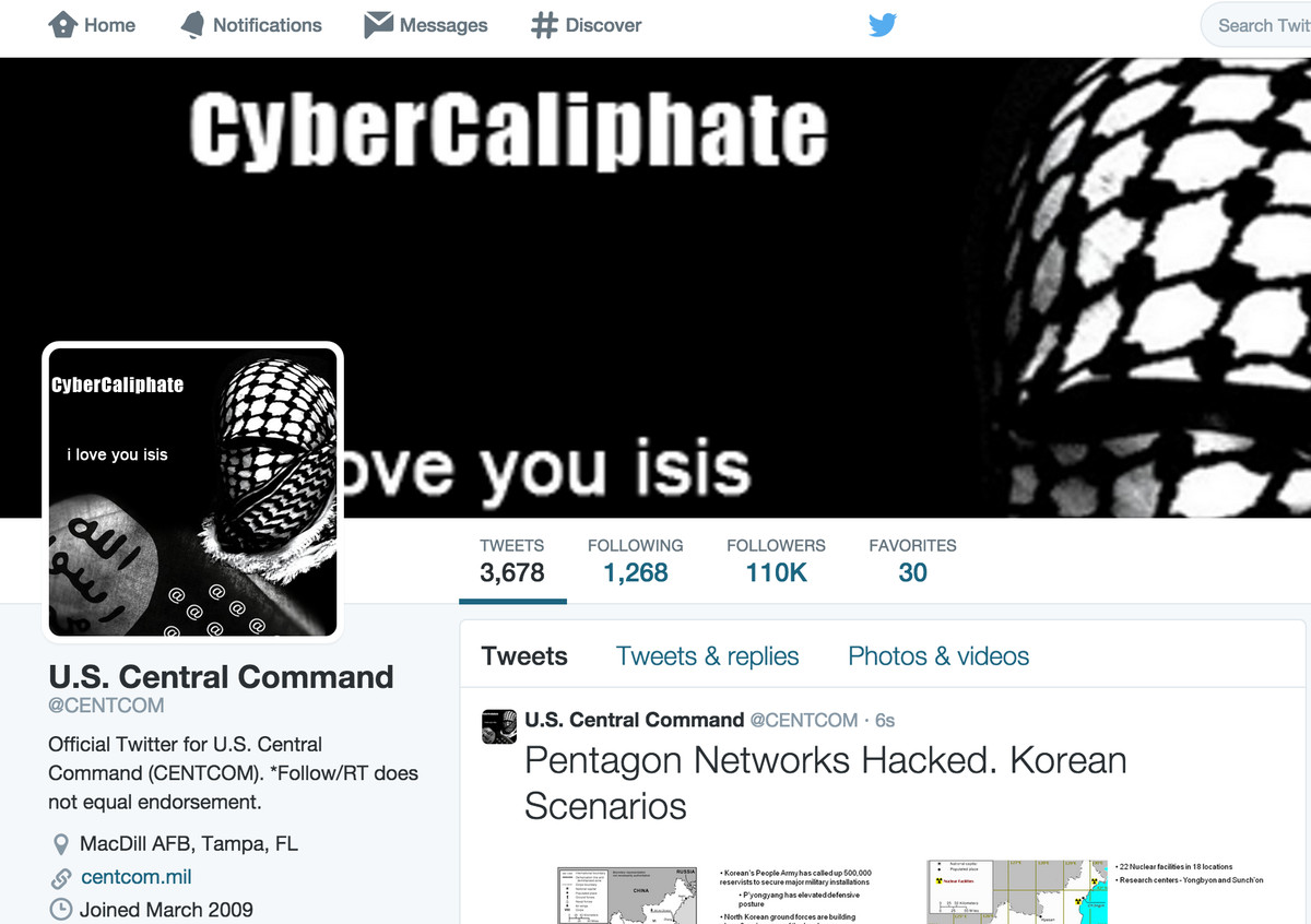 How the CENTCOM account appeared after being hacked.
